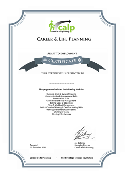 Adapt To Employment Programme Certificate